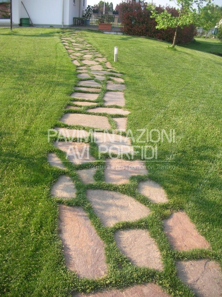 Lastrame di porfido - Camminamento pietra giardino ...